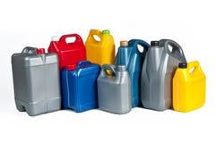 Plastic bussen voor machineolie Royalty-vrije Stock Afbeeldingen