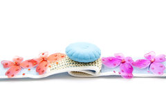 Plastic butterflies with soap on massage cloth Royalty Free Stock Photo