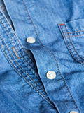 Plastic button on a shirt Royalty Free Stock Image