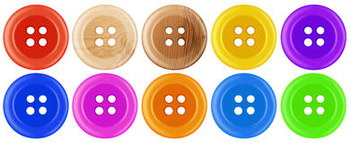 Plastic buttons isolated - colorful Royalty Free Stock Images