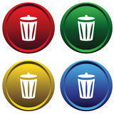 Plastic buttons with recycle bin Royalty Free Stock Photography