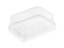 Plastic cake box. Transparent plastic cake box (with clipping path) isolated on white background Stock Photos