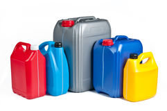 Plastic canisters for machine oil Stock Photography