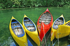 Plastic canoes stock photography