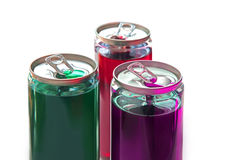 Plastic cans for drinks stock images