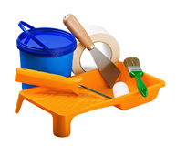 Plastic cans of paint and painting tools Stock Image