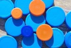 Plastic caps. Plastic bottles caps for recycling royalty free stock images