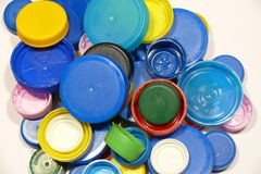 Plastic caps. Colorful plastic caps from PET Royalty Free Stock Images