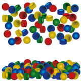 Plastic caps background. Pile of plastic PET bottle caps on white background Royalty Free Stock Image