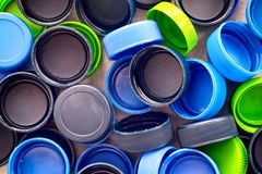 Colorful plastic caps. Royalty Free Stock Images