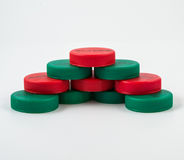 Plastic Caps of the bottle isolated. Plastic Caps green and red of the bottle isolated royalty free stock photos