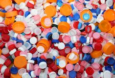 Plastic caps in landfills recyclable waste Stock Photography