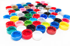 Plastic caps from pet bottles. Recycle. Stock Photo