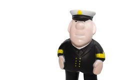 Plastic captain figurine. Captain plastic figurine isolated on white Royalty Free Stock Photography