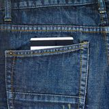Plastic card in a back pocket of a jeans Royalty Free Stock Photography