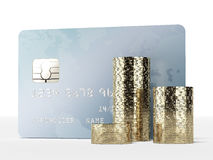 Plastic card and coins. Isolated on a white background. 3d render Stock Photography