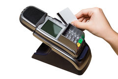 Plastic Card Pay. Pay with a Plastic Card with Magnetic Stripe isolated on White Stock Image