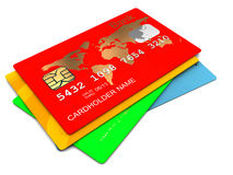 Plastic cards. 3d illustration of plastic cards stack over white background Royalty Free Stock Photography