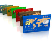 Plastic cards. 3d illustration of bvanking cards row over white background Royalty Free Stock Photography
