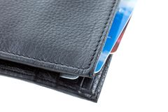 Plastic cards in a black leather wallet Stock Image
