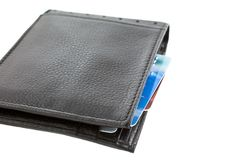 Plastic cards in black leather wallet Stock Photo