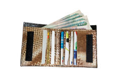 Plastic cards and money in leather wallet Royalty Free Stock Photography