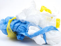 Plastic carrier bags. On white background royalty free stock images
