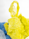 Plastic carrier bags on white background Stock Photos
