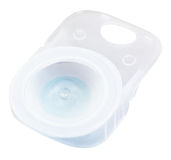 Plastic case with solution and contact lens Stock Photos