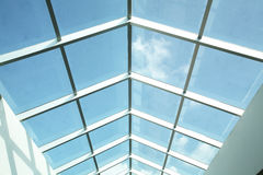 Plastic ceiling. With blue sky background stock photo