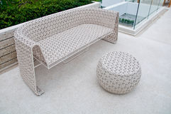 Plastic chair and table weave. For swimming pool terrace Stock Photos
