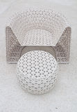 Plastic chair and table weave Stock Photo