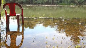 Plastic chair in the water. One plastic chair on flooded ground by the morning river stock video footage