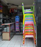 Plastic chairs in the café La Paz Royalty Free Stock Images