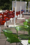 Plastic chairs in patio. Bulgarian hotel Stock Image