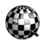 Plastic chess Globe. Chess balls with 3D pawns Stock Image