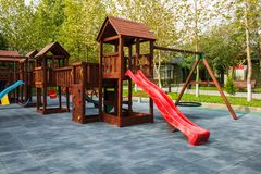 Plastic children playground without children royalty free stock photography