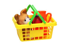 Plastic children's toys in a basket Stock Photo
