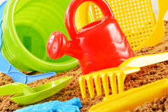 Plastic children toys for playing in sandpit or on a beach Royalty Free Stock Images