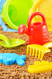 Plastic children toys for playing in sandpit or on a beach Stock Photo