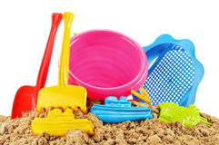 Plastic children toys for playing in sandpit or on a beach Stock Images
