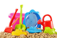 Plastic children toys for playing in sandpit or on a beach Royalty Free Stock Photos