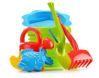 Plastic children toys for playing in sandpit or on a beach Royalty Free Stock Image