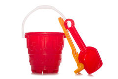 Plastic childrens bucket and spade Royalty Free Stock Photo