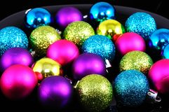 Plastic Christmas baubles. Royalty Free Stock Images