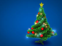 Plastic Christmas tree. With lights on blue background Royalty Free Stock Images