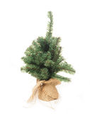 Plastic Christmas tree. In a canvas bag on a white background Stock Image