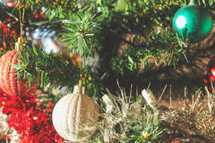 Plastic Christmas tree decorations Royalty Free Stock Photos