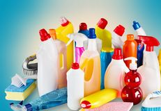 Plastic bottles, cleaning sponges and gloves on Royalty Free Stock Photography