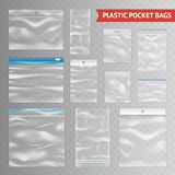 Plastic Clear Transparent Realistic Bags Assortment. Reclosable resealable zipper clear plastic pocket bags assortment realistic collection on transparent Stock Photo
